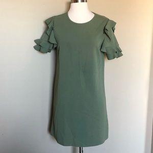 [Zara] Green Ruffle Sleeve Dress M